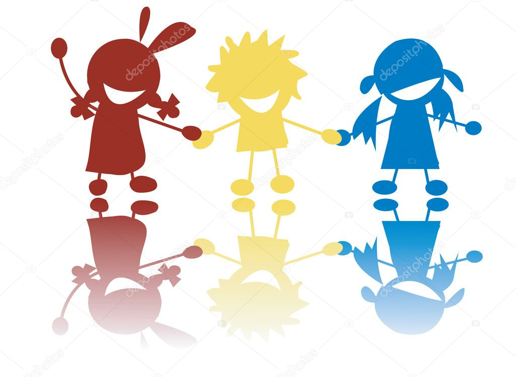 Happy little children holding hands in c stock illustration