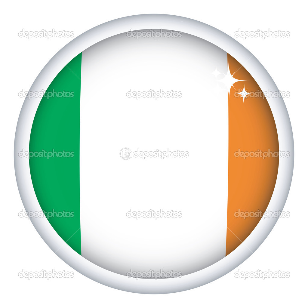 Irish sphere flag button, isolated vector on white — Stock Vector #1235433