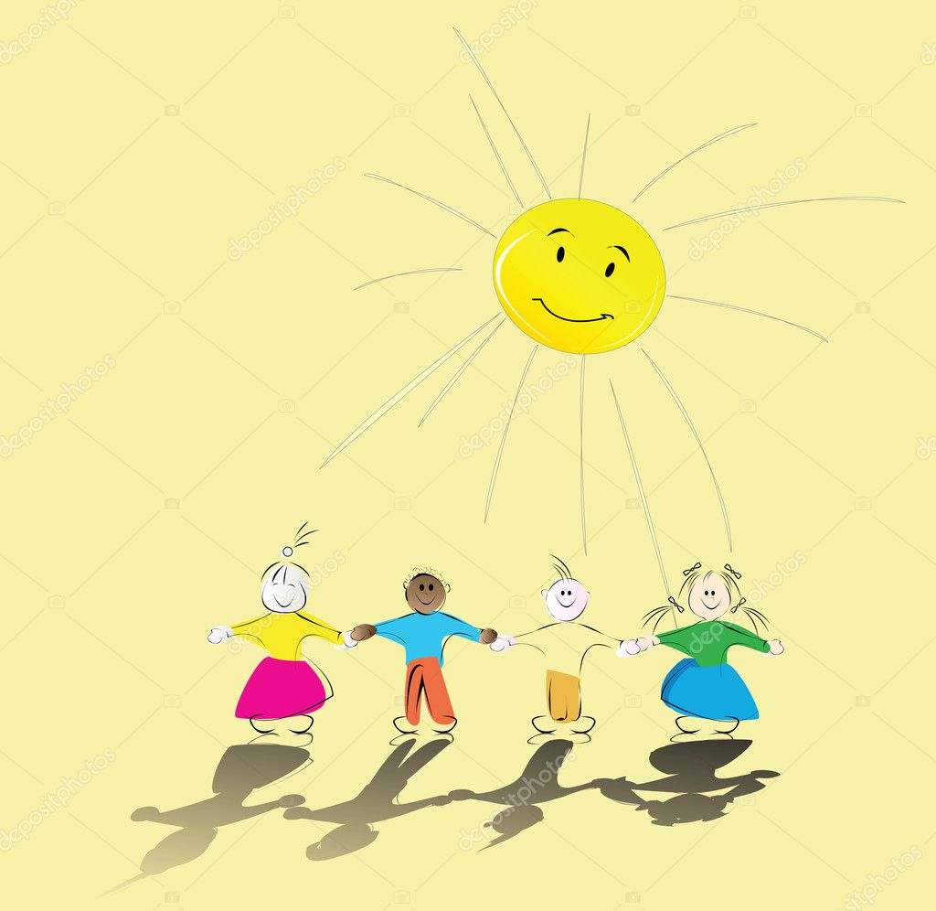 Multiracial kids holding their hands and smiling sun  Stock Vector #1235522