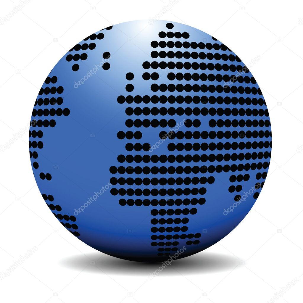 Blue earth globe concept, isolated object on white — Stock Vector #1303997