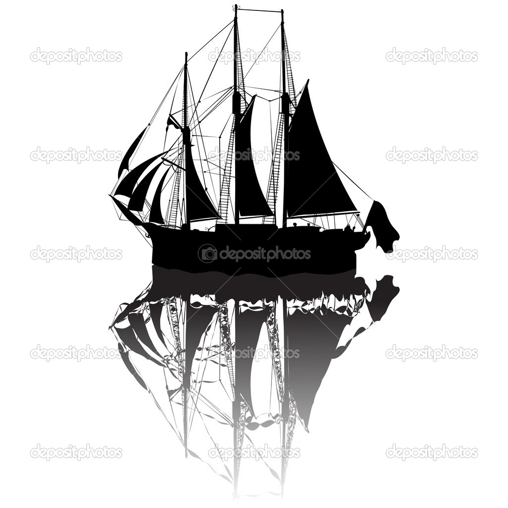Sailing boat silhouette view from a side  Stock Vector #1304367