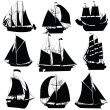 Stock Vector: Sailing ships collection