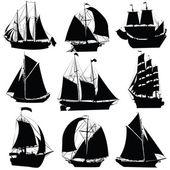 ιστιοφόρα πλοία συλλογή — Διανυσματικό Αρχείο