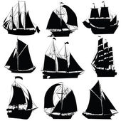 Koleksiyon yelkenli gemiler — Stok Vektör