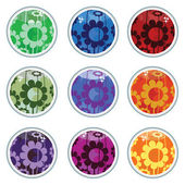Glass floral buttons — Stock Vector