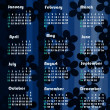 Dark floral background calendar — Stock Photo