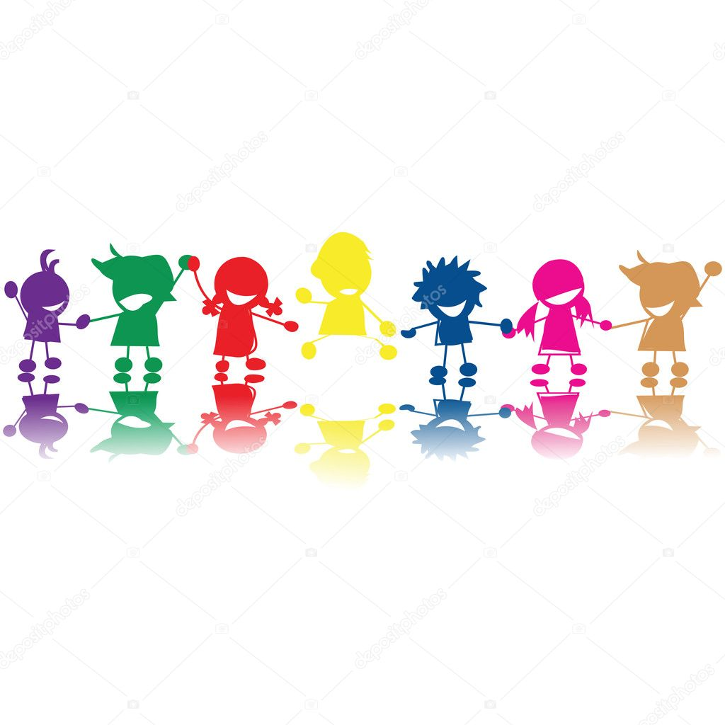 Silhouettes of children in colors and races holding hands  Foto de Stock   #1494250