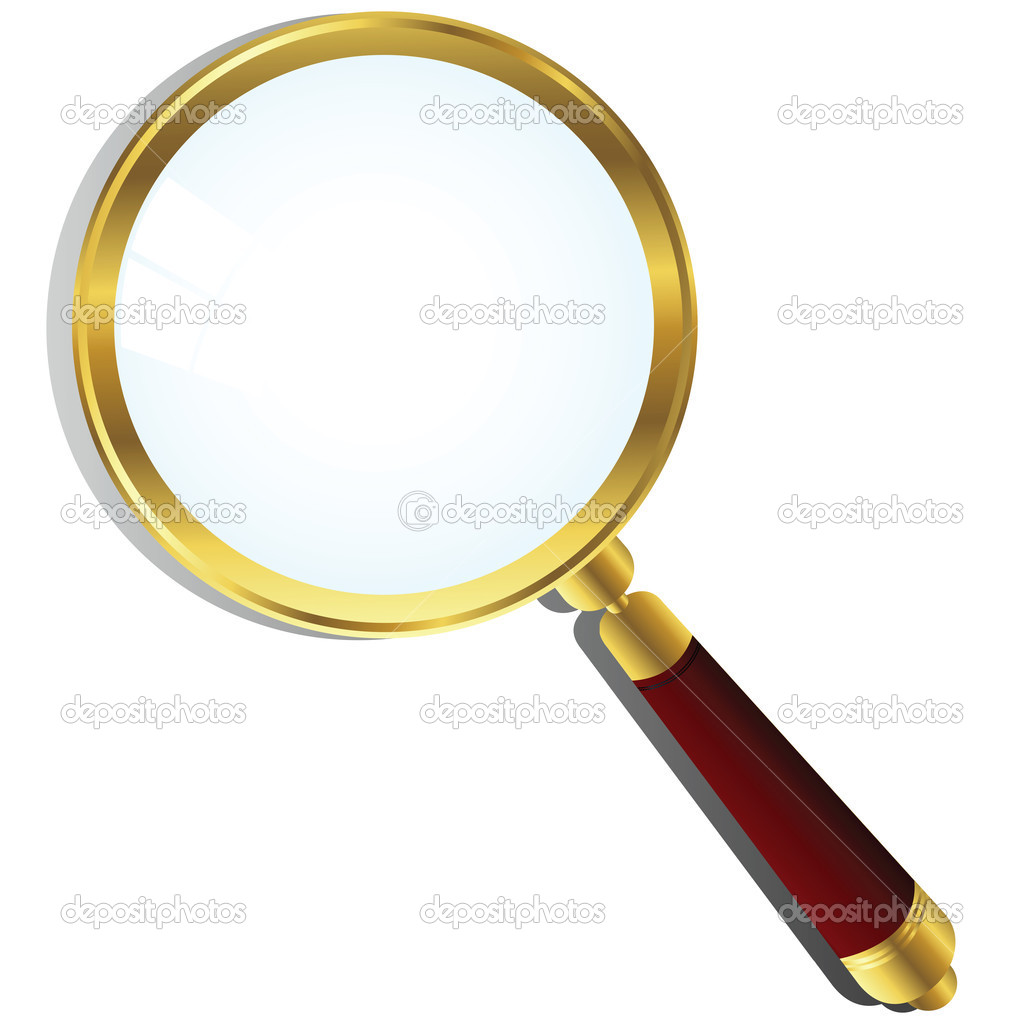 Golden magnifying glass over white background — Stock Vector #1794665