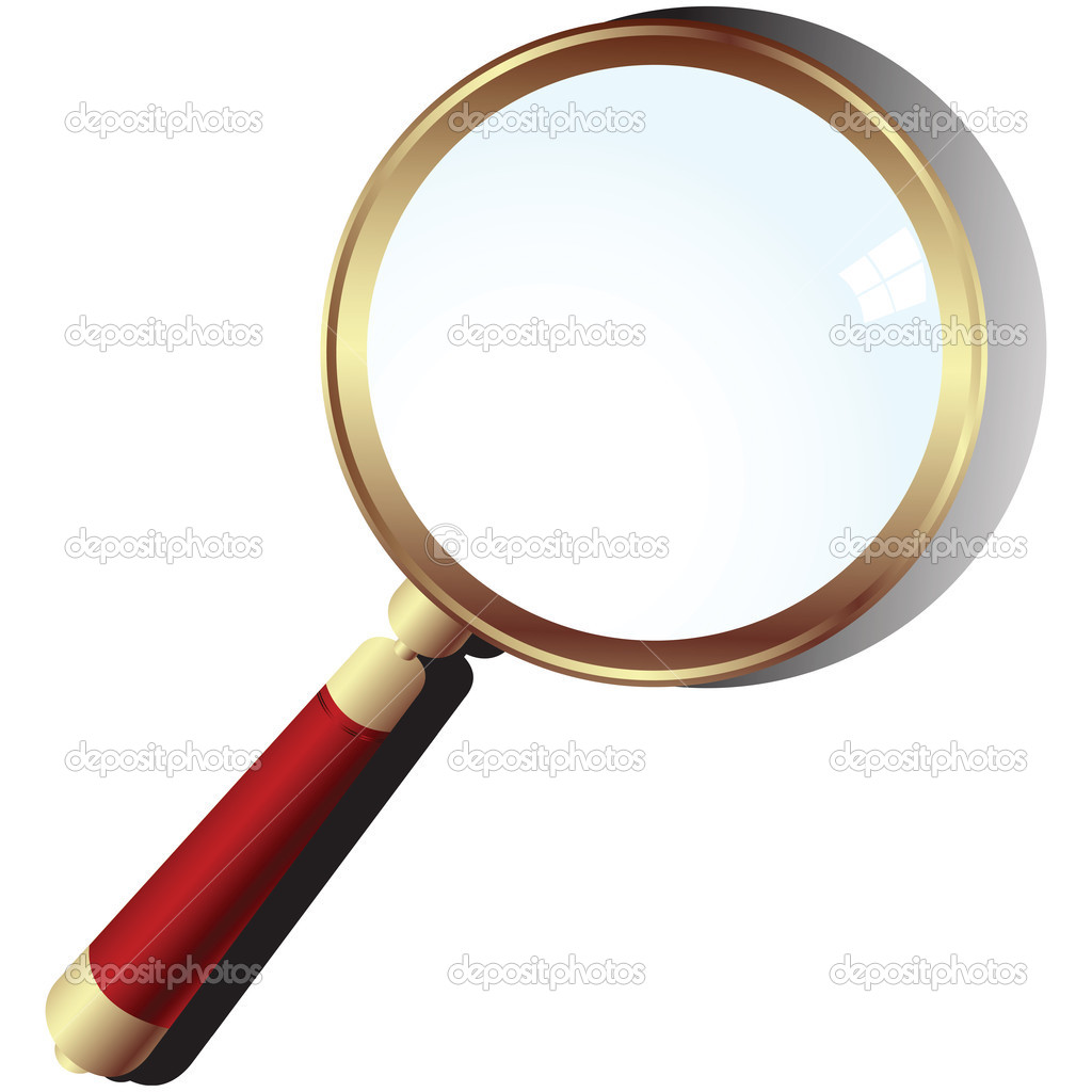Golden magnifying glass over white background  — Vettoriali Stock  #1794682