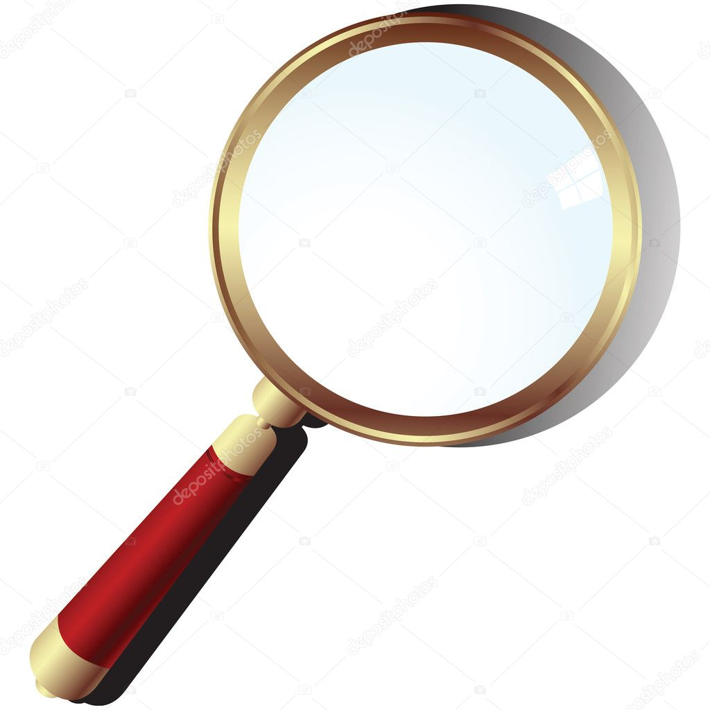 Golden magnifying glass over white background    #1794682