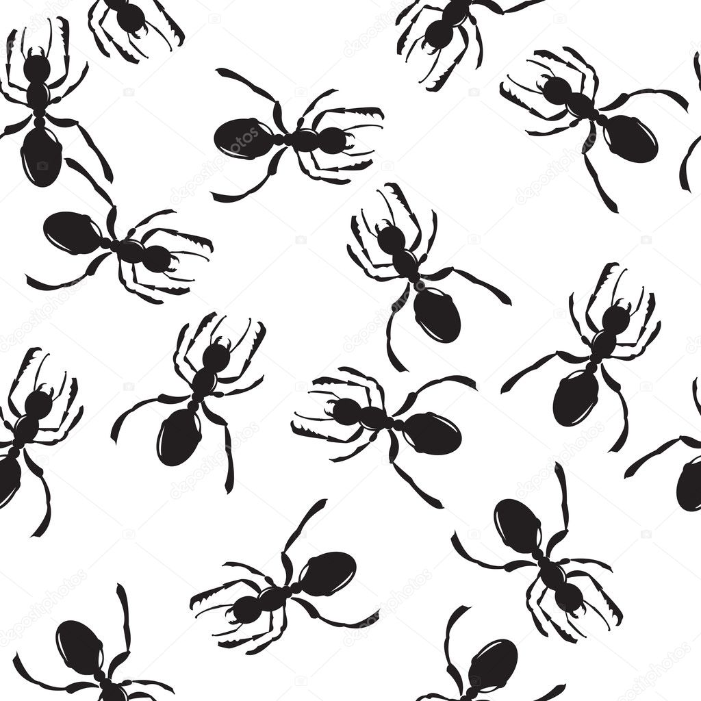 Seamless repeating ant silhouettes pattern    Stock Vector #1832821