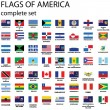 American continent flags — Vector de stock