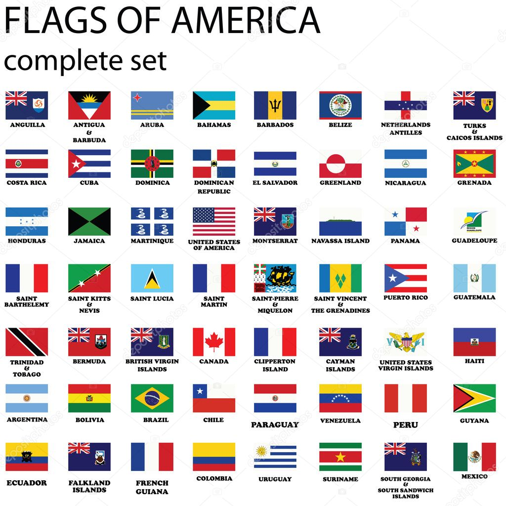 American continent, complete set of flags, vector — Векторная иллюстрация #2009631
