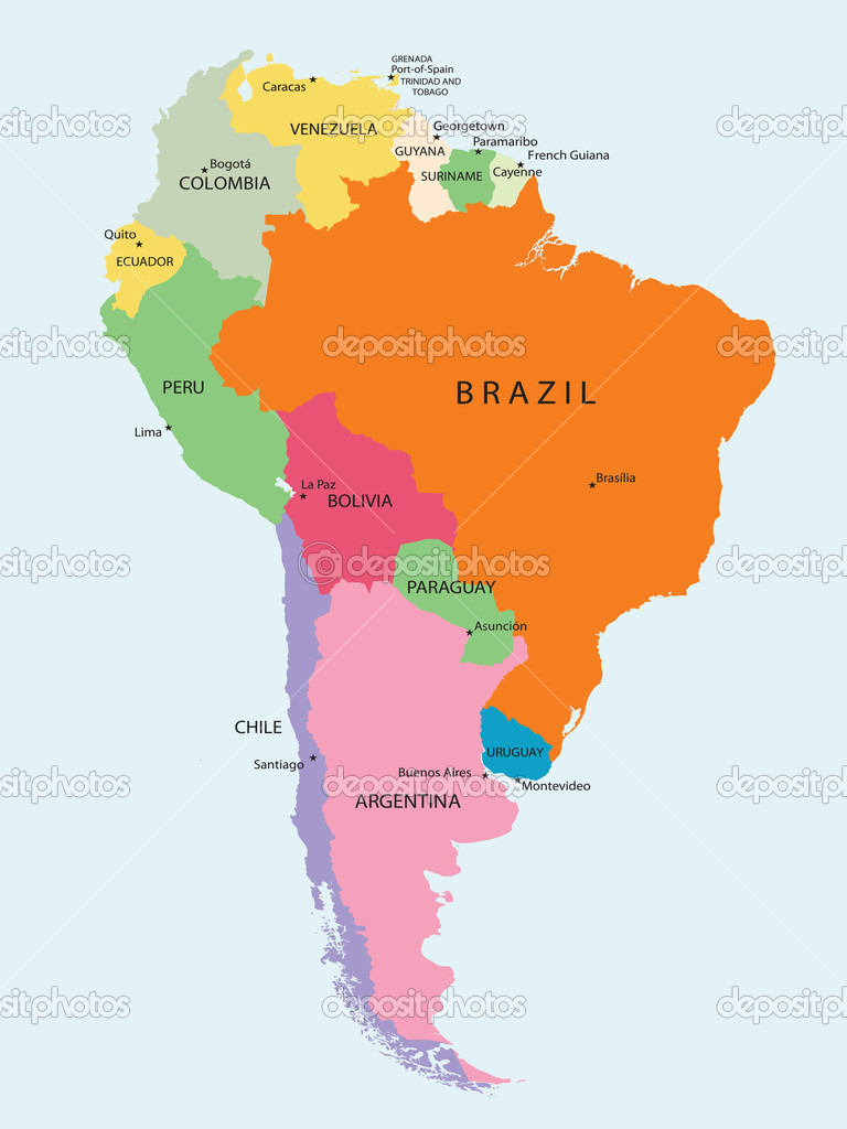 Detailed map of South America — Stock Vector #2009649