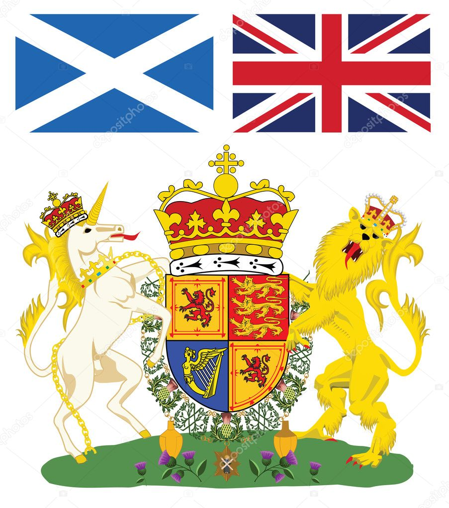 Scottish royal coat of arms with flags of Scotland and Great Britain  Stock Vector #2078783
