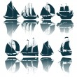 Stock Vector: Sailing ship silhouettes