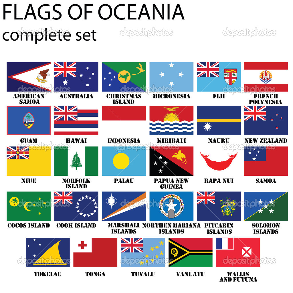 Flags of Oceania, all countries in original colors  Stock Photo #2489505