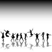 Mutlu çocuklar silhouettes — Stok fotoğraf