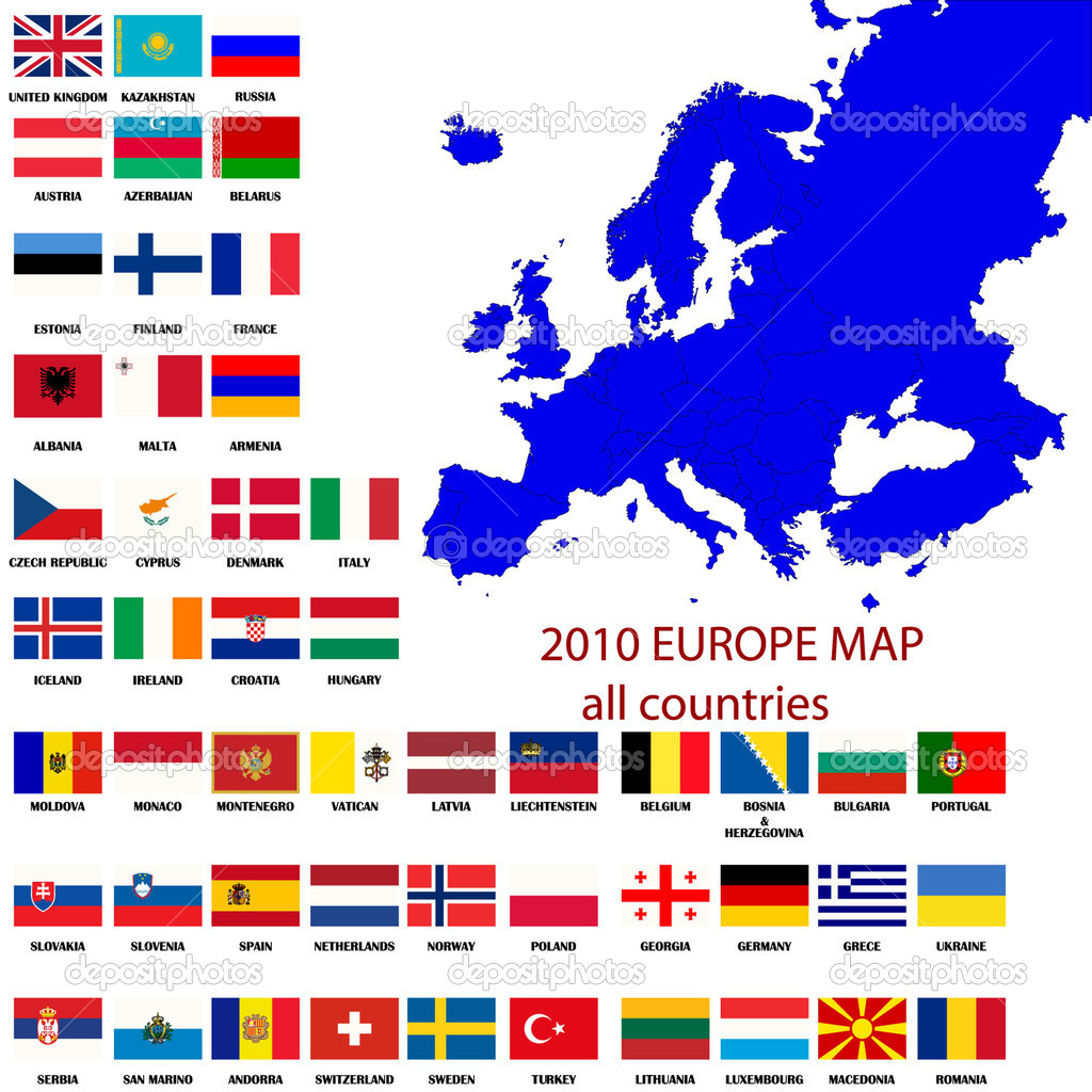Editable map of Europe- all countries with borders and oficial flags in original colors — Stock Photo #2546801
