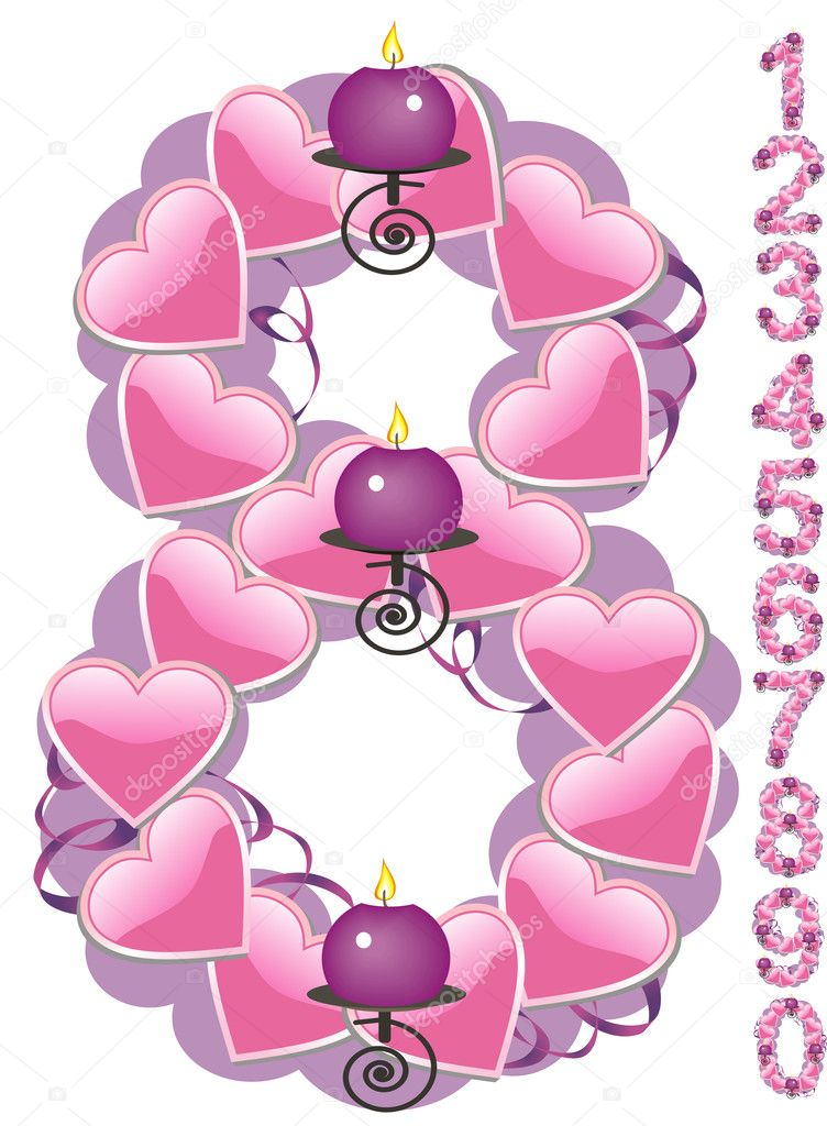 The numbers from zero to nine covered with hearts and candles. Vector illustration. — Stock Vector #1481022