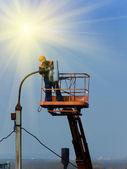 Repair lantern electric — Stock Photo