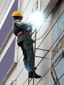 Welding metal vertical wall — Stock Photo
