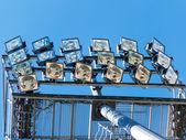 Projector on a mast of electric illumina — Stock Photo