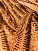 Grader trace on sand — Stock Photo