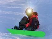 Boy winter snowboard — Stock Photo