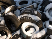 Tyre cover old wheels — Stock Photo