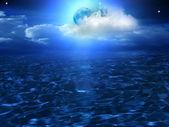 Księżyc niebo chmury morze — Zdjęcie stockowe