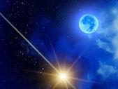 Sky stars clouds moon — Stock Photo