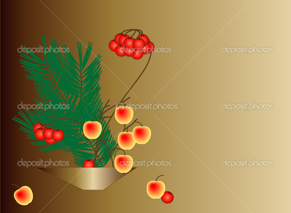 Composition with small apples, rowan and the pine-tree twig. Space for your text to the right. — Stock Photo #1457389
