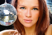 Young woman with two mirror balls — Stock Photo