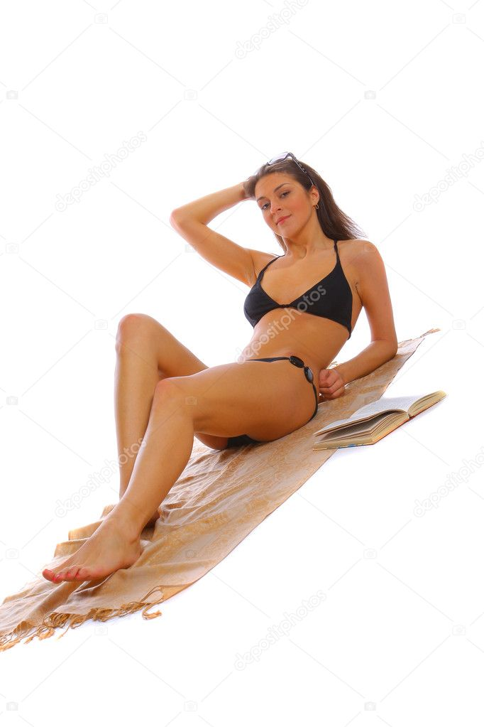 Suntanned slim young woman getting tan on white background — Stock Photo #2571842