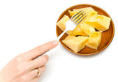 Tasty cheese on a plate — Stock Photo
