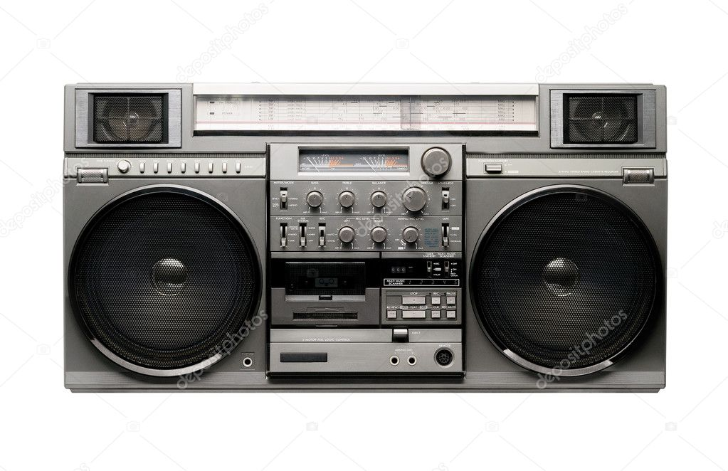 Famous retro vintage boombox from 1980s. Isolated on white — Stock Photo #1415567