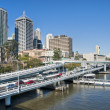 Brisbane Skyline from the Bridge, Austra - Stock Photo