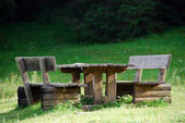 Park Bench, Val Visdende, Italy, August — Foto Stock