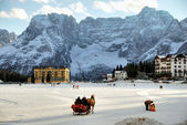 Misurina Lake at Christmas, Italy — Stok fotoğraf