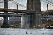 Detail of Brooklyn Bridge, New York City — Stock Photo