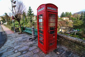 Red Phone Booth, Barga, Italy — Stock Photo