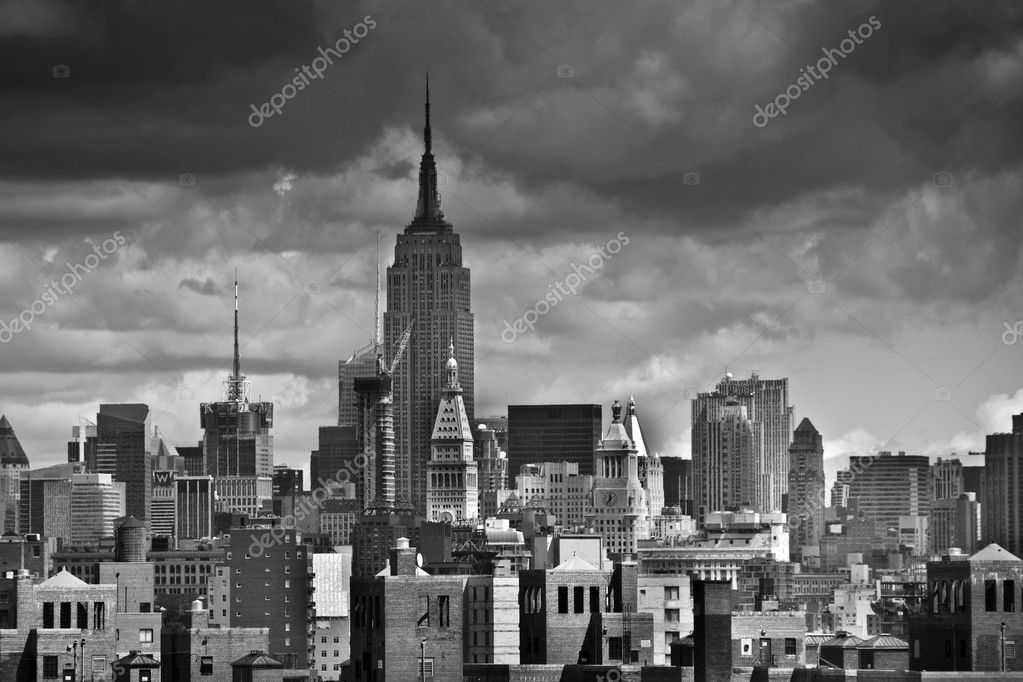 Black and White View of New York City from the Brooklyn Bridge    #2523758