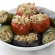 Vegetables stuffed with rice — Stock Photo
