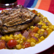 Royalty-Free Stock Photo: Grilled pork chops with corn mango salsa