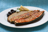 Baked zucchini with parmeggiano — Stock Photo
