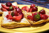 Puff pastry with strawberry — Stock Photo