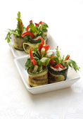 Zucchini salad rolls with cheese — Stock Photo