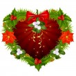 Christmas wreath in the shape of heart - Stock Photo