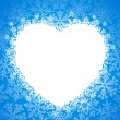 Snow frame in the shape of heart — Imagen vectorial